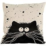 Hiroo Vintage gato perro de almohada de algodón caso sofá de cintura cojín de cojín cubierta de decoración del coche de casa 45x45cm Siete opciones(ABCDEFG) (F)