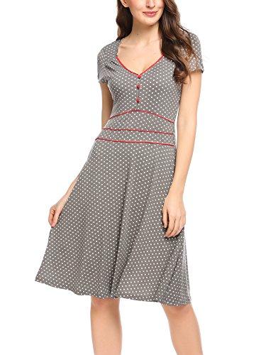 ACEVOG Damen Vintage Gepunktetes Kleid Sommer knielang mit Kurzarm V Ausschnitt elegant Jersey Kleid Freizeitkleid (XXL, Grau)