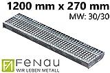 Fenau | Gitterrost-Stufe (R11) XSL – Maße: 1200 x 270 mm - MW: 30 mm/30 mm - Vollbad-Feuerverzinkt – Stahl-Treppenstufe nach DIN-Norm | Fluchttreppen geeignet/Anti-Rutsch-Wirkung