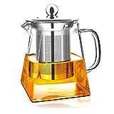 Wisolt Teiere in Vetro con infusore Rimovibile, Bicchiere Alto in Vetro borosilicato Bollitore da tè in Forma Quadrata, colino in Acciaio Inossidabile 304 e Coperchio - Piano Cottura Sicuro - 350ML
