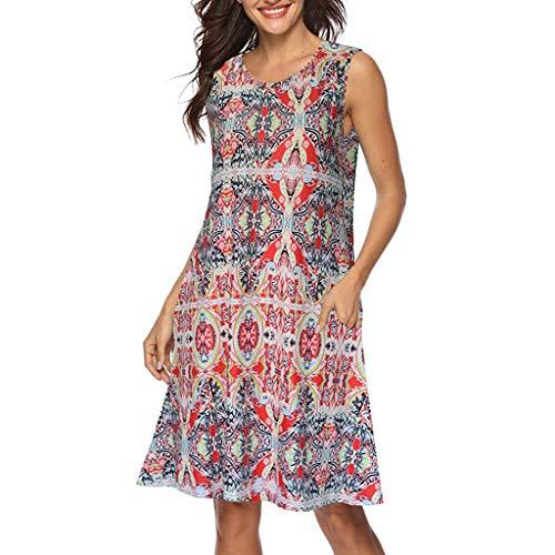 YunYoud Damen Lange Ärmel Partykleider Weinlese Boho Abendkleider Blumen gedruckt Cocktailkleid Maxi Strand Kleid O-Hals Elegante Kleider Lose Minikleid (S, Sexy Rosa) - Lose Sexy Kleid