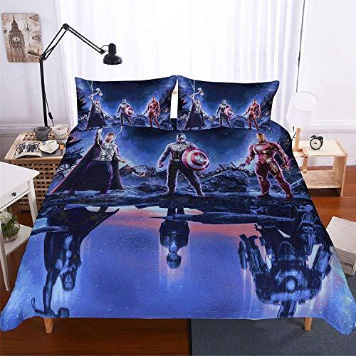 Avengers: Infinity War Bettwäsche-Set Bettbezug Plus 2 Kissenbezüge weich knitterfrei fleckenabweisend Baumwollmischung Raytheon Captain America Iron Man Double(200x200 cm)