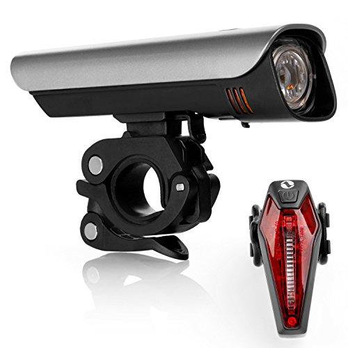 LED Fahrradbeleuchtung Set für ALLE Lenker passend und nach StVZO zugelassen mit Hochleistungs CREE-LEDs und Samsung Li-Ionen Akku ( ultrahelle 300 Lumen, Wasserdicht IPX4, hält bis zu 8 Stunden )