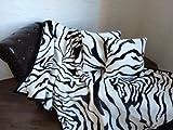 3tlg. Set Kuscheldecke Tagesdecke Zebra 160x200cm + 2 Kissen 40x40cm