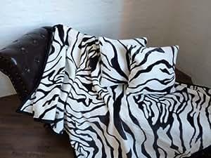 3tlg set kuscheldecke tagesdecke zebra 160x200cm 2 kissen 40x40cm k che haushalt. Black Bedroom Furniture Sets. Home Design Ideas
