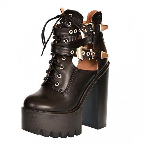 Kick Footwear - Kick Footwear Womens Block Heeled Chunky Platform Cut Out Ankle Boot Nero