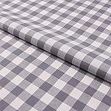 Hans-Textil-Shop Stoff Meterware Karo 15x15 mm Grau