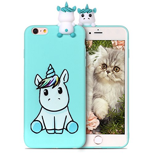 RosyHeart Coque Apple iphone6 Plus Silicone iphone6S + Souple Gel TPU Etui 3D Mignon Design Flexible Soft Backcover Anti Choc Housse de Protection pour iphone6S Plus,Licorne