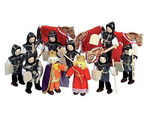 Betzold Ritter-Set, 14-teilig, 12 cm groß, Biegepüppchen, Spiele mit der Ritterburg, Spielfiguren aus Holz, stabile Aufbewahrungsbox - Holzfiguren Zubehör Ritterburg