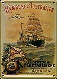 Schifffahrt Mini-Blechschild Blechpostkarte - Hamburg - Australien - 8x11cm Nostalgieschild Retro Schild Metal tin sign