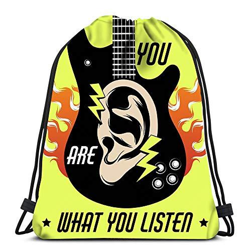 Randell Gym Drawstring Backpack Sport Bag You Are What Listen Surreal Guitar Human Ear Lightweight Shoulder Bags Travel College Rucksack for Women Men