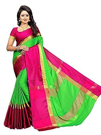BuyOnn Women's Cotton Silk Solid Saree with Blouse Piece, Free Size(Red Green,OFS1573-Redz)