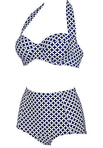 Damen Retro Badeanzug Bademode Bikini Set blau Label XXXL(EU 42-44) -