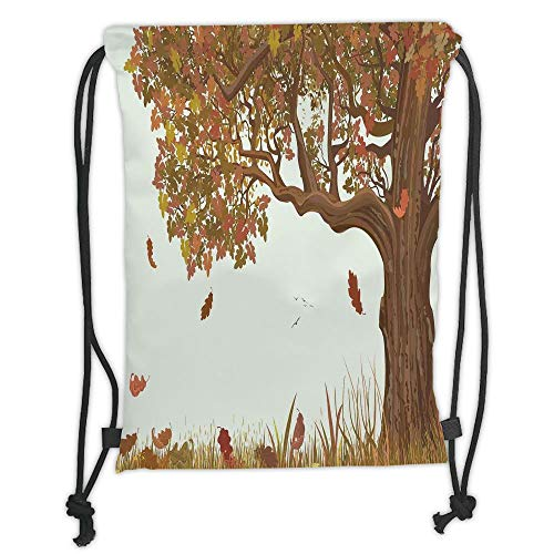OQUYCZ Drawstring Sack Backpacks Bags,Tree of Life,Autumn Season Fall Shady Deciduous Oak Leaves in Park Countryside Artwork,Umber Redwood Soft Satin,5 Liter Capacity,Adjustable String Closure