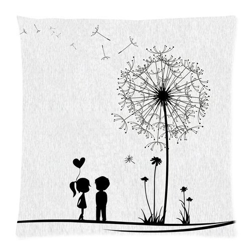 "Black Young Couple Love Kiss Beside Dandelion Fly White Custom Zippered Pillow Cushion Case Throw Pillow Covers (Two Sides) 16""x16\"""