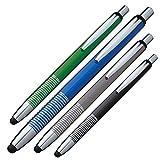 4 Touchpen Kugelschreiber aus Metall / Farbe: je 1x blau,schwarz,grün,grau