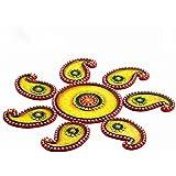 Yellow, Green And Red Wood Clay Keri Floor Art { Rangoli } For Diwali/New Year