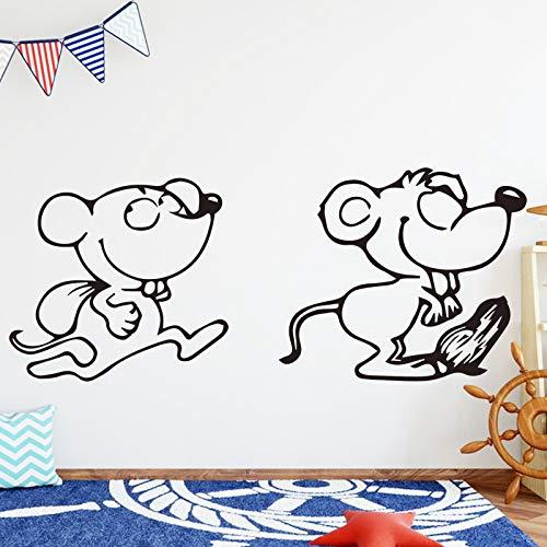 yaoxingfu Lustige Maus Wandaufkleber Für Wanddekoration Wohnzimmer Kreative Abnehmbare Cartoon Nette Maus Wandaufkleber Für Kinder R rot XL 65 cm X 26 cm