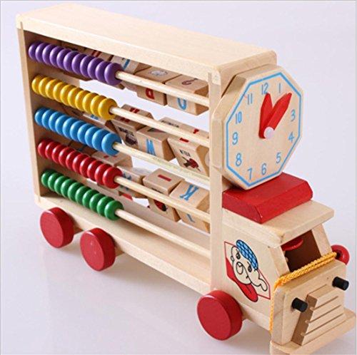 LDD-Wood Multifunktions-Lern-Auto Kinder frühen Bildung Holzspielzeug Klappenrechner
