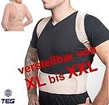 LTEG533 - für T-Shirt Größe 'XL bis XXL' - medizinisch orthopädischer Rückenstabilisator GERADEHALTER aus hochwertigem NEOPRENE - Rückenbandage - mit verstellbaren Trägern und 12 Magneten