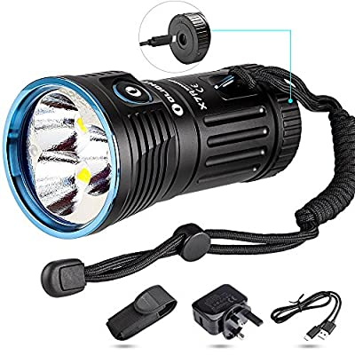 Olight® X7R Marauder 12000 Lumens Rechargeable Torch Light Ultra Bright Powerful Flashlight with USB Type-C Fast Charging Port and Cree XHP70 CW for Outdoors Sports, Self-defense, Search & Rescue X7R (Olight Direct) from Olight