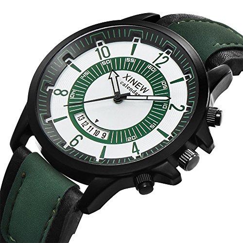 Modaworld Uhren Mode Herren Uhren Geschäft Wasserdicht Simulierter Quarz Uhr Mondphase Leder Schnalle Armbanduhren