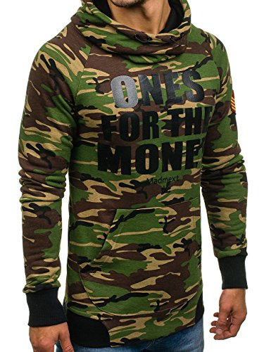 BOLF Herren Pullover mit Kapuze Sweatshirt Langarmshirt Sweatjacke Militär  Army Camo Muster 1A1 Grün ... 40d410dd4b