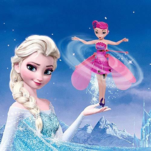 Fliegende Fee Spielzeug, Fliegende Fee Flying Fairy Spin Master, Funkeln Prinzessin Puppe mit Lichtern Induktionssteuerung USB Lade Fairy Flying Toy Geschenk für 3 bis 10 Jahre Kinder Puppen