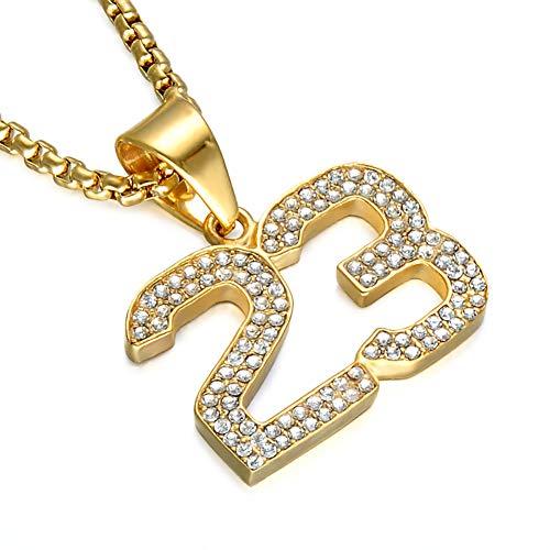 Qiulv 23 Hip-Hop-Anhänger Iced-Out 18K Vergoldete Kette Eingelegt AAA-Zirkon Michael Trikot Nr. 23 Halskette Poliertes Schmuckzubehör Hochzeitstag, Gold -
