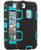 ULAK - Cover per iPhone 4S Case - iPhone 4 Custodia ibrida a protezione integrale per Apple iPhone 4 con parte esterna in 3 strati di morbido silicone e interno rigido per iPhone 4/4S - (blu + nero)