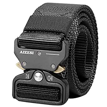 """AIZESI Men Tactical Belt 1.5"""" Heavy Duty Belt, Quick-Release Military Style Shooters Nylon Belts with Metal Buckle"""