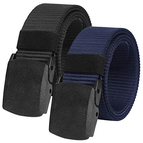 Nylon-körper (2er Unisex Gürtel Nylon Canvas Belt für Damen und Herren, Stufenlos Verstellbarer Stoffgürtel, Länge 130 cm, Breite ca. 3,8 cm, mit Kunststoff Schnalle MEHRWEG)