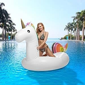 Große Aufblasbar Luftmatratze Einhorn Schwimminsel Schwimmring Party Pool Ferien Luftmatratzen
