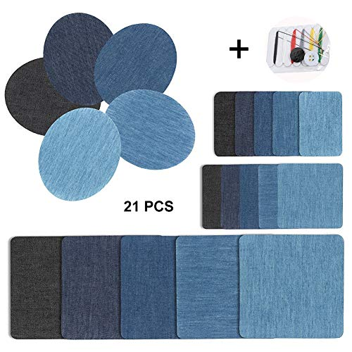 Patches zum Aufbügeln Set - Jeans Bügelflicken,20 Stück 5 Farben Flicken zum Aufbügeln Jeans Denim Baumwolle Patches für Kleidung Reparatur mit 1 Stück Nähzeug