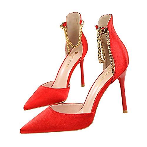 z&dw Sexy Show fine talons hauts talons en satin bouche creux pointu chaîne métallique avec sandales Rouge
