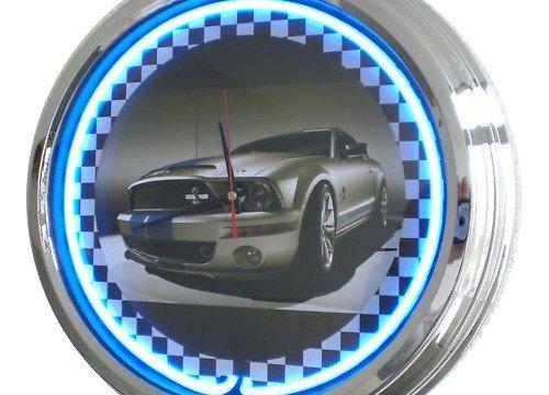 Neon Uhr Shelby Mustang Wanduhr Deko-Uhr Leuchtuhr USA 50's Style Retro Uhr Neonuhr