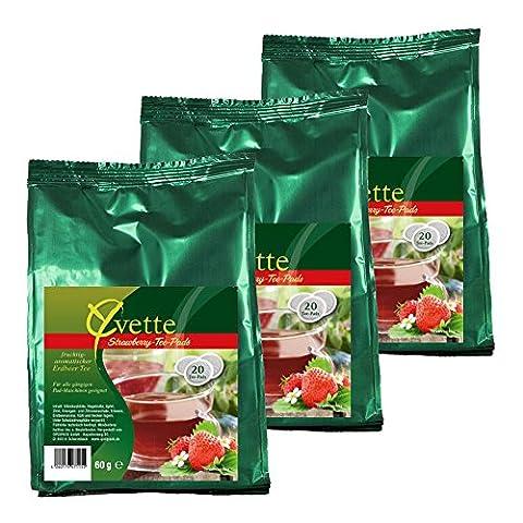 Yvette Strawberry Teepads, Teebeutel, Schwarzer Tee, passend für Senseo, 60 Pads