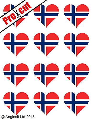 Norwegen Schokolade (12x vorgeschnittenen Norwegische Flagge Herz essbarem Reispapier/Wafer Papier Kuchen Topper Geburtstag Party Dekoration)