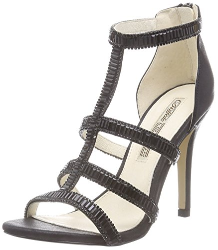 Buffalo London 314-6615 METALLIC PU, Damen Knöchelriemchen Sandalen, Schwarz (BLACK 01), 38 EU
