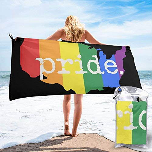 YUYUTE Badetuch, Gay Pride America Country Map Eco-Friendly Microfiber Portable Lightweight for Beach Swimming Picnic Vacation for Unisex
