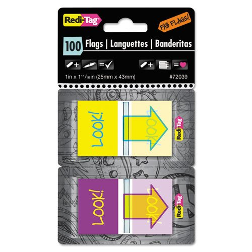 Redi-Tag Look. Pop-Up Fab banderas con dispensador, color morado/amarillo/azul, 100 por paquete (rtg72039)
