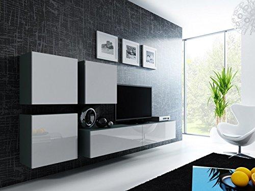 Jadella Wohnwand \' Vigo 23\' Hochglanz Hängeschrank Lowboard Cube, Farbe:Grau Weiß