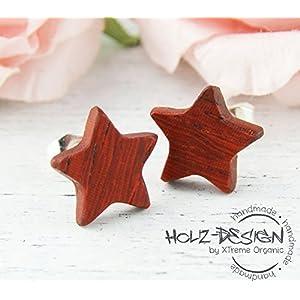 Stern Holz Ohrstecker Star Ohrringe hölzerne Fake Plugs Kleine Ohrringe Mini Ohrringe wooden earrings wood post studs sternförmig