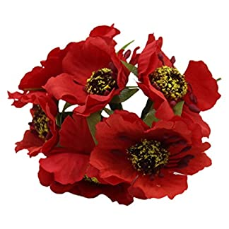 TOOGOO High Amapolas de Seda de Calidad Camelia 5 Cm 60 Unids/Lote Flores Artificiales Amapola de Maíz Hecho a Mano Peque?a Decoración de La Boda (Rojo)