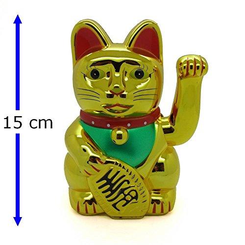 Glückskatze Winkekatze Glücksbringer Feng Shui Katze Maneki Neko (Gold Glänzend, 15cm)