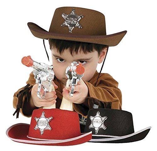 Cowboy Kostüm Sheriff Hut - Boland Cowboy Hut in braun Hut mit silbernem Sheriff Stern Sheriffstern für Cowboy Kostüm Sheriff Kostüm für Kidner