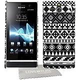 StyleBitz / Coque rigide avec motif géométrique pour Sony Xperia U / st25i Avec protection d'écran et tissu de nettoyage de nettoyage (Noir/blanc)