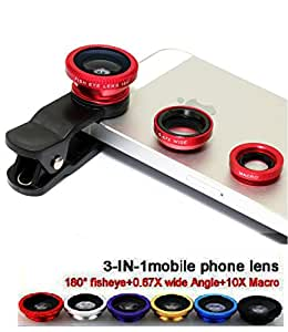 GKP Products ® 3 in 1 Mobile Camera Lens with WIDE, MACRO, FISH-EYE, Carrying Pouch, for Smart Phone Photography