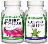 Aloe Vera Cleanse & Detox (60 Capsules) Plus Raspberry Ketone Blast (60 Capsules)(Bundle Deal) By Natural Answers