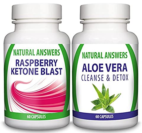 Pure Raspberry Ketone Blast & Aloe Vera Colon Cleanse & Detox | Duo Saver Pack | UK Manufactured to GMP Standards | 1 Month Supply By Natural Answers